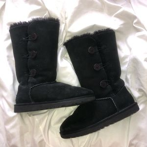 tall black button uggs